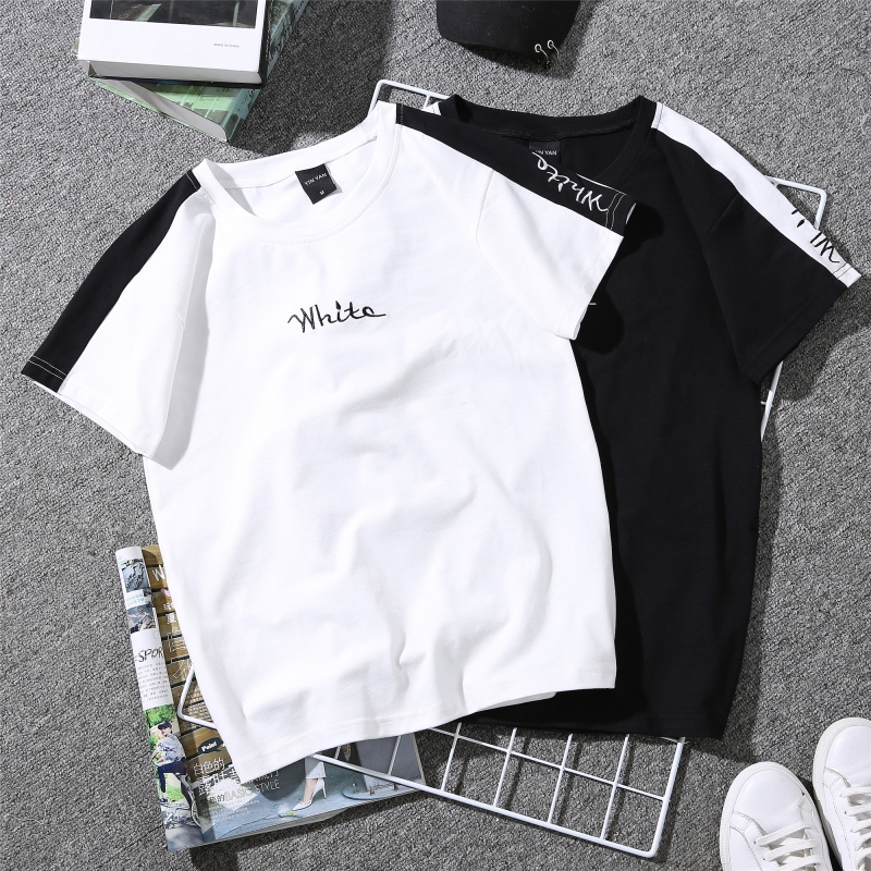 2019 Summer New Women's T-shirt White Embroidered Monophonic Female T Shirt Striped Harajuku Couple Clothes Black Tops 90s Tees