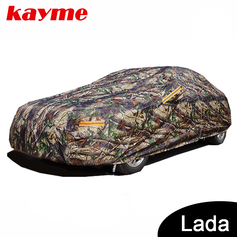 Kayme Camouflage waterproof car covers outdoor cotton sun protection for lada Lada Niva 4x4 Priora granta Kalina Largus Vesta luminous silicone emblem badge car key ring for lada niva kalina priora granta largus vaz samara car styling