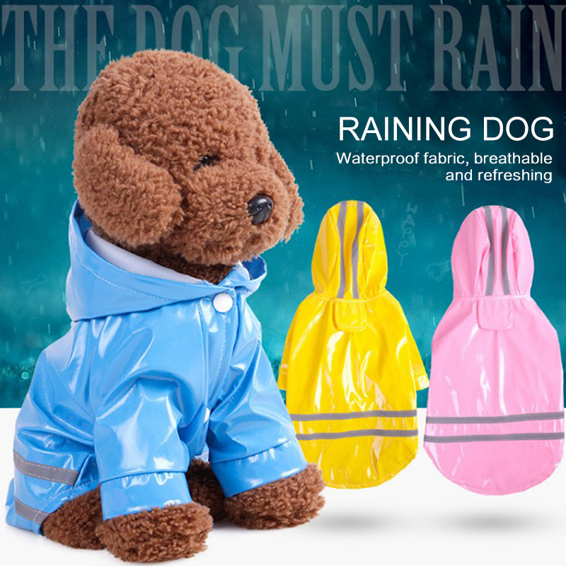 Summer Outdoor Puppy Pet Rain Coat S-XL Hoody Waterproof Windbreak Jackets PU Raincoat For Dogs Cats Apparel Clothes Wholesale