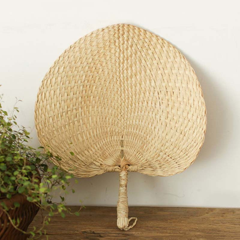 NEW Cool Baby Mosquito Repellent Fan Summer Manual Straw Hand Fans Palm Leaf