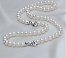 Beautiful New stunning 8-9mm natural south seas white pearl necklace18INCH bracelet 7.5inch