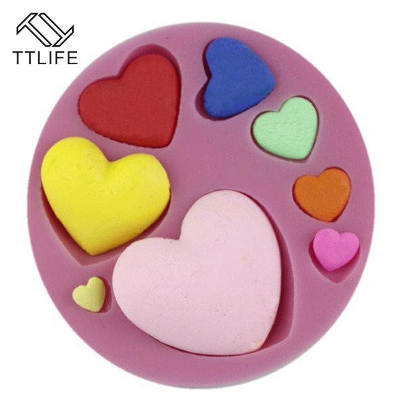 TTLIFE 3D 8 Holes Love Heart Shape Silicone Mold Pastry Chocolate Baking Mould Soap Cookies Dessert Fondant Cake Decorating Tool