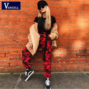 Image 3 - Vangull Red Camouflage Harem Pants Womens Jogger Pant Ankle length 2019 New Spring Fashion Female Casual Cargo Pant Camo Print