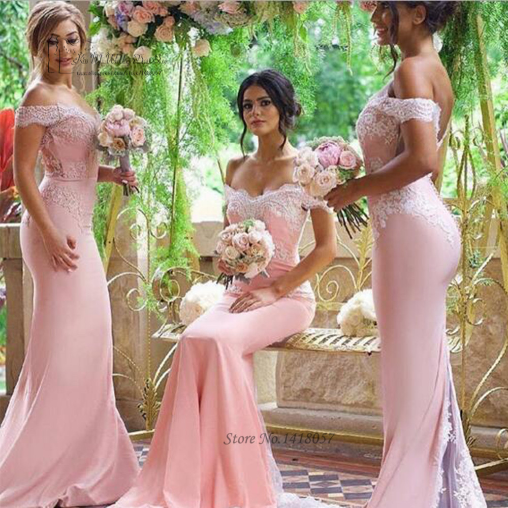 2017 Sexy Pink Mermaid   Bridesmaid     Dresses   Long White Lace   Dress   for Wedding Party Guest Gowns off Shoulder Abito da Damigella