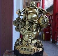 song voge gem S0822 16 Temple Copper Bronze Gild Lucky Money Coin Wealth Toad Maitreya Buddha Statue