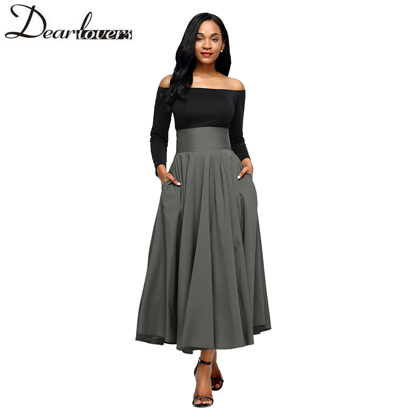 Dear lovers New Autumn Winter Women Gray Retro High Waist Pleated Belted Maxi Skirt S-XXL LC65053 Blue Wine Red Black Pink