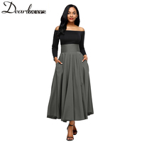 Dear Lovers 2017 New Autumn Winter Women Gray Retro High Waist Pleated Belted Maxi Skirt S