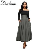 Dear Lovers 2017 New Autumn Winter Women Gray Retro High Waist Pleated Belted Maxi Skirt S
