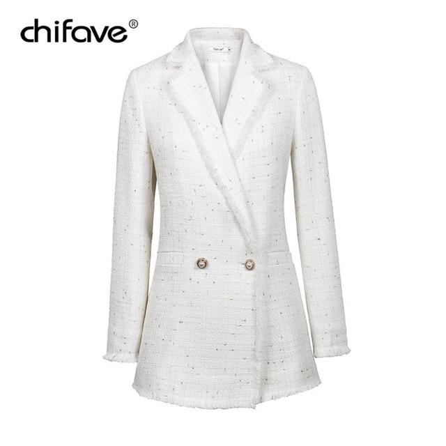 510fc3f8da7 2018 Fashion chifave Autumn Plaid Tweed White Blazer Women Vintage Small  Fragrant Long Coat Women s Jacket