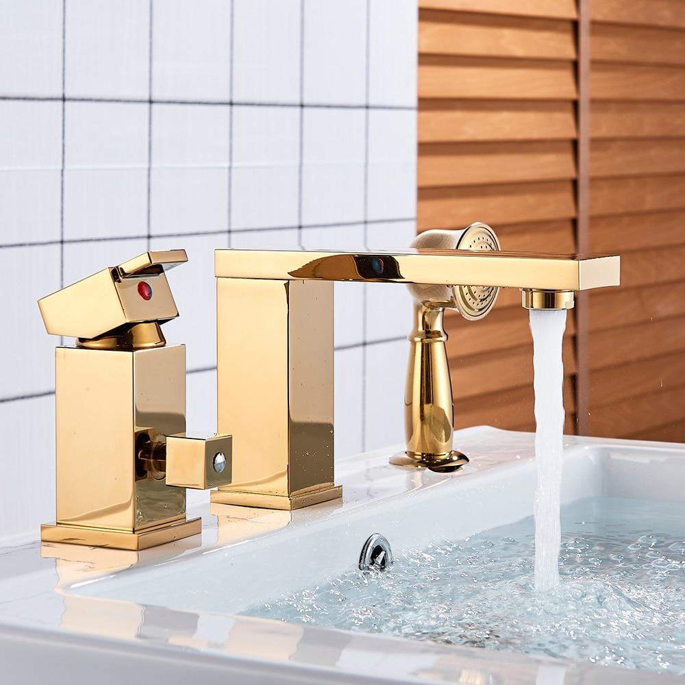 Solid Brass Golden Chrome 4 color Polish 3pcs Bathroom Faucet Vessel Sink Faucet Deck Mounted Mixer