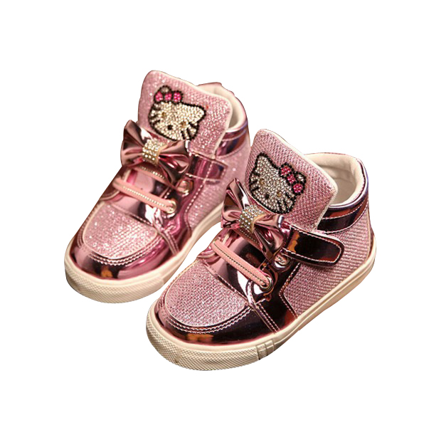 2016 Spring Autumn Girls Shoes Sequin Rhinestone Hello Kitty Sneakers Kids  Shoes For Girl Pink Color Bow Knot Baby Shoes 49db26569f9b