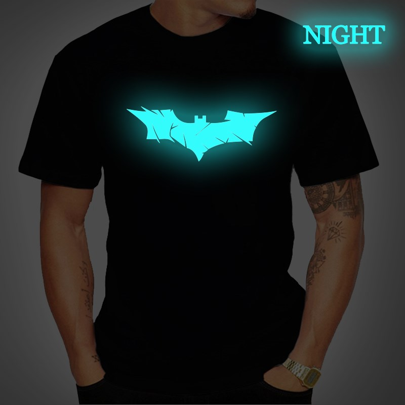 Batman Bruce Mens T Shirt Luminous Summer Short Sleeve T Shirts Fashion Casual Tee Tops Streetwear T Shirt Women Summer Clothing
