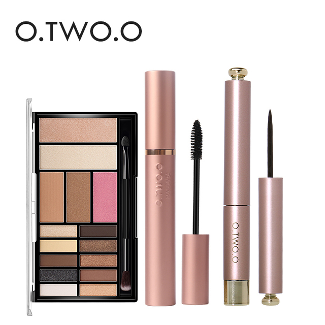 O.TWO.O 4Pcs Pro Eye Makeup Set Cosmetics 12 Colors Warm Nude Colors Eyeshadow Black Mascara Eyeliner with 1Pcs Shadow Brush Kit