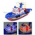 Crianças elétrica de alta velocidade música luz barco marinho resgate modelo de brinquedos para meninos água spray barco fogo brinquedo educacional