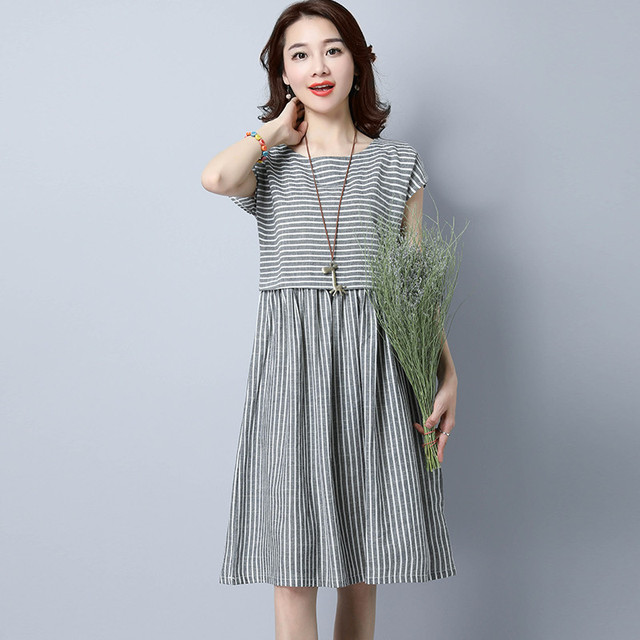 84aa25b9cc75 MIWIMD Women Summer Dress 2018 New Fashion Casual Loose Stitching Striped  sleeveless Vintage Cotton Linen Dresses Big Size