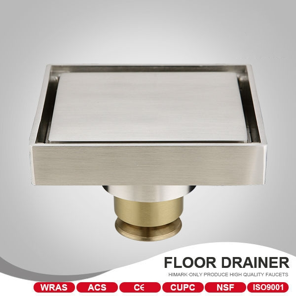 ФОТО European style 100*100mm  Invisible Insert tile brass floor drain bathroom shower drain,Brushed Nickel
