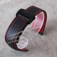 Promotion sangles en carbone + cuir avec boucle pliante en acier inoxydable argenté déploiement rouge cousu 19 20 22mm bracelets de montre
