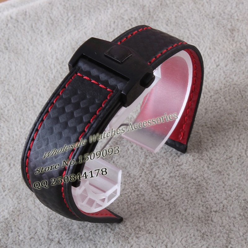 promotion Carbon Leather straps with silver stainless steel folding buckle deployment red stitched 20 22mm watchbands