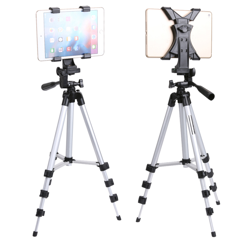 "ALLOET Portabel Aluminium Tablet Berdiri Kamera Tripod Holder Dengan 1/4 ""Screw Tablet Clip Holder Bracket Untuk iPad 2 3 4 Mini Air"