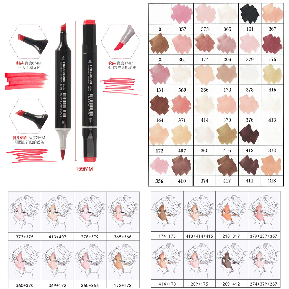 Image 3 - Finecolour 12 24 36 Colors Skin Tones Soft Brush Markers Alcohol Based Artist Double Headed  Professional Sketch Marker Pen-in Art Markers from Office & School Supplies