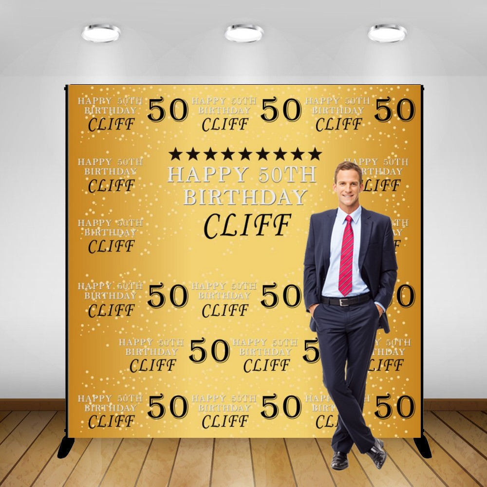 Custom 50th 30th 40th Gold Wall background polyester or Vinyl cloth High quality Computer print birthday photo backdrop