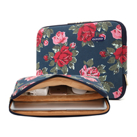 2016 Kayond Laptop Sleeve Bag With Interlayer Pocket Peony Print Canvas Notebook Briefcase For Macbook Lenovo