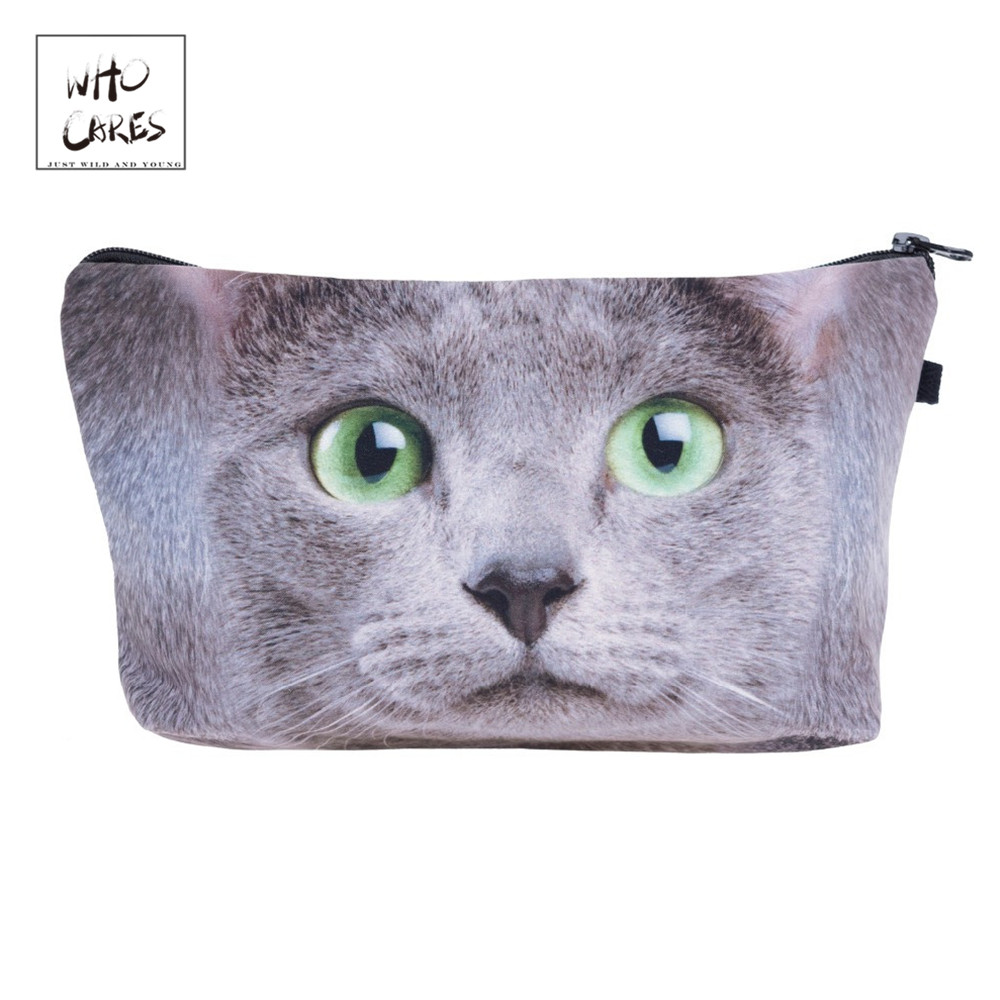 Ladies Pouch Makeup-Bags Cosmetic-Organizer Green Fashion Women Who Cares Printing Eye-Cat