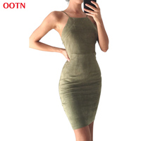 Ootn ldlyq018 sheath spaghetti strap suede dress women strapless hollow out solid mini dresses sleeveless summer.jpg 200x200