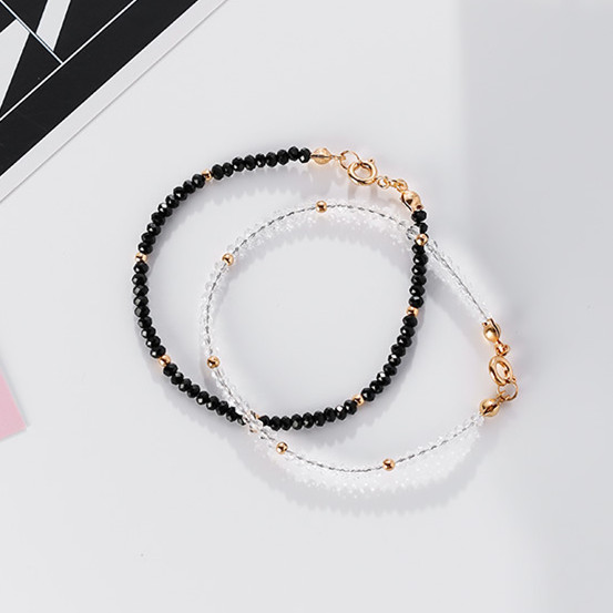 2017 Korean Simple Design Bracelets For Women Fashion Jewelry Doublelayer Black White Rhinestone Beads Bracelet Femme bracelet