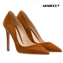 Aimirlly Women Shoes Pointed Toe High Heels Pumps Faux Suede Ladies Work & Career Heels Sexy Thin Heels qianruiti hot sale faux suede thin heels women shoes sexy pointed toe women pumps red blue fox fur pom poms high heels shoes
