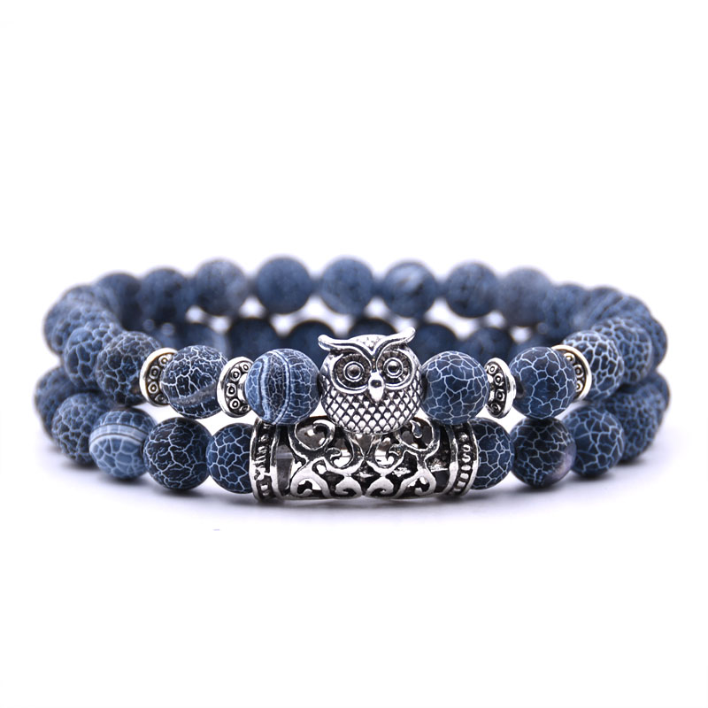 Kang hua 2Pcs Set 2019 fashion 18 styles 8mm stone charm Bracelet charm owl Bracelets for Men Women Classic trend Jewelry gifts in Strand Bracelets from Jewelry Accessories