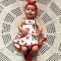 new baby girls dress summer lace sleeveless  strawberry cotton dresses kids clothes