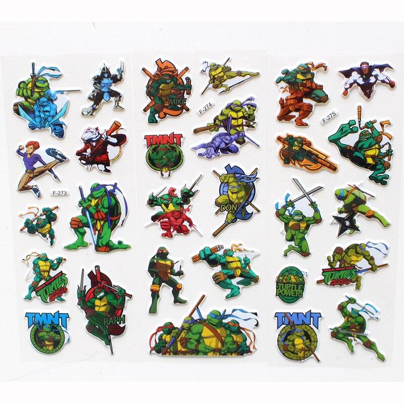 9 Hojas/set Teenage Mutant Ninja Turtles TMNT pegatinas para niños decoración de