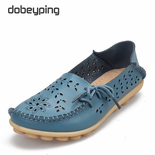 Women's Casual Shoes Genuine Leather Woman Loafers Slip-On Female Flats Moccasins Ladies Driving Shoe Cut-Outs Mother Footwear