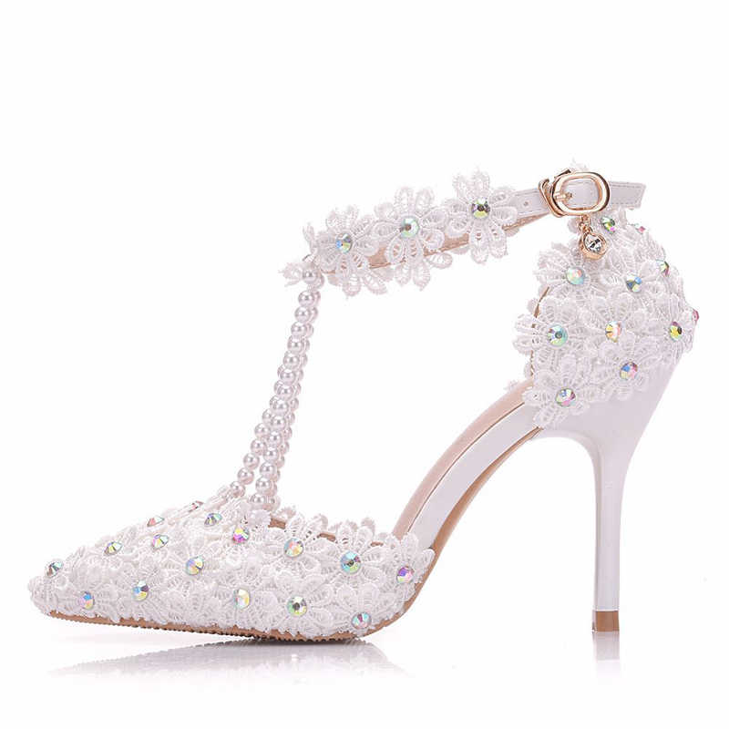 19fe500b42 Fashion Lady Wedding Dress Shoes Pointed Toe AB Diamonds Heels Bridal Shoes  White Lace Sandals High Heels Party Prom Pumps