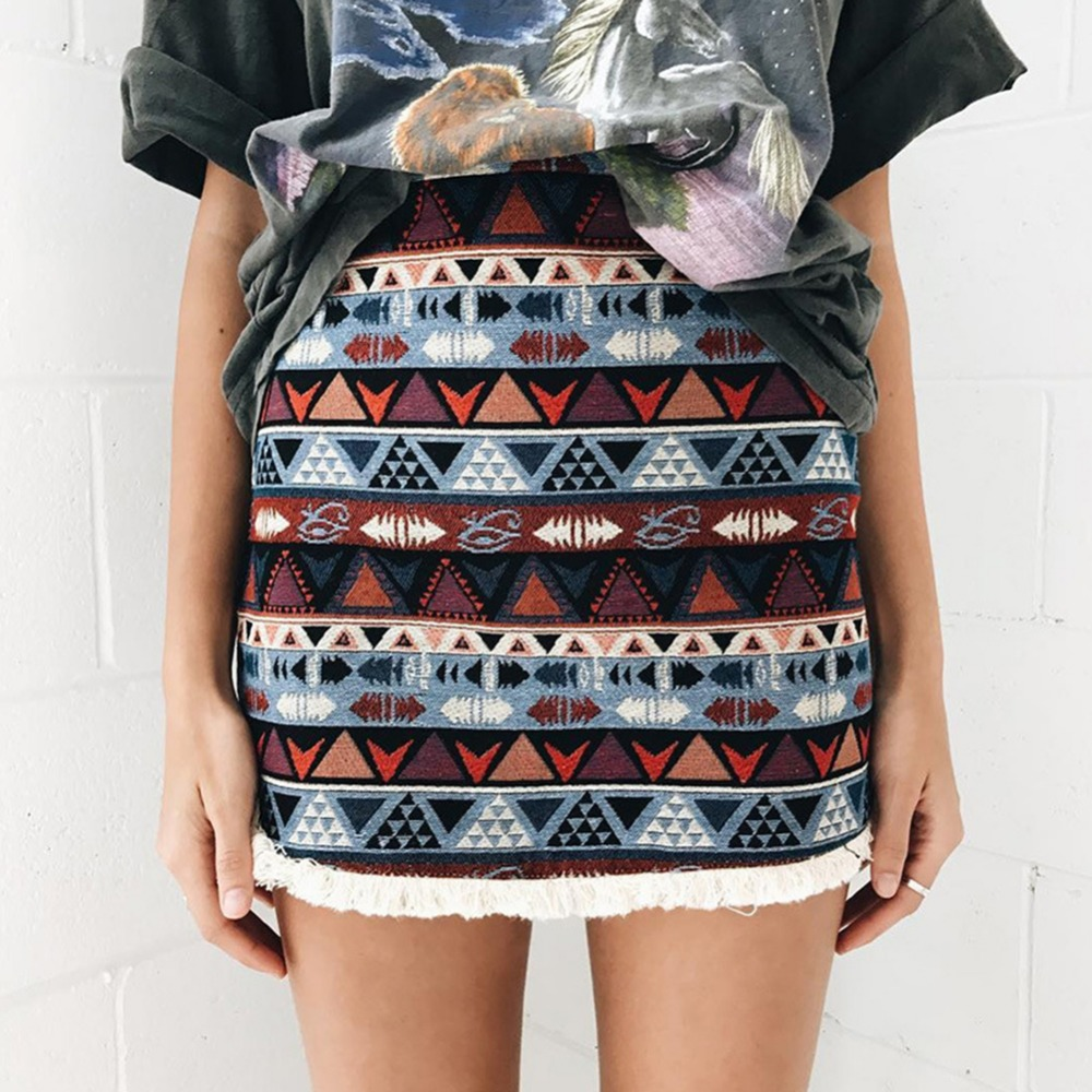 Бохо юбка короткая