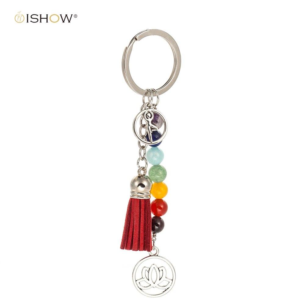 7 Chakra Natural Stones Yoga Keyrings Lotus Pendant Round Key Chains Red Tassel Charm Key Chains Bag Jewelry For Woman Man Gift