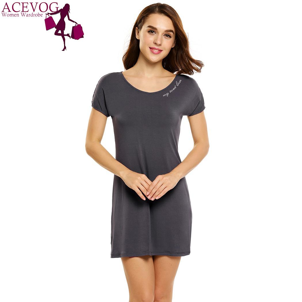 ACEVOG Lounge Letter Sleeve FOR WOMEN LOVE THE CUTE FATION   Nightgown     Sleepshirt   Women Dress Sleep Embroidery Short