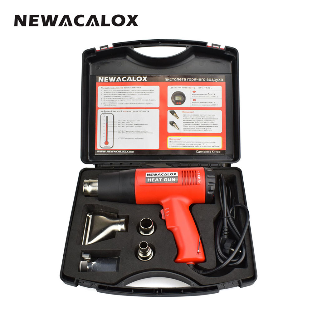 NEWACALOX 2000W 220V EU Plug Industrial Electric Hot Air Gun Thermoregulator LCD Display Heat Gun Shrink Wrapping Thermal Heater
