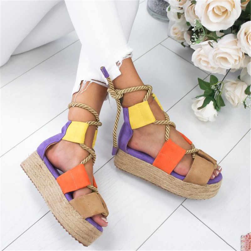 MEMUNIA platform sandaletler karışık renk dantel kadar takozlar ayakkabı rahat Kenevir halat gladyatör sandalet bayan ayakkabı 2019 kadın sandalet