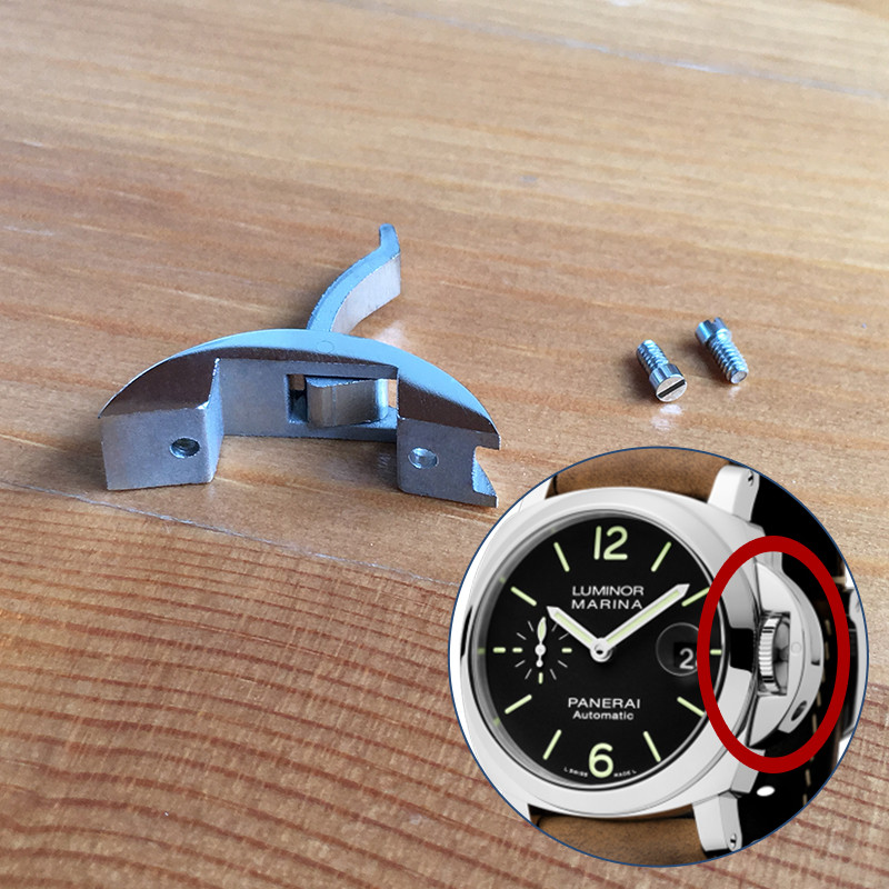 steel watch crown protect guard parts for Panerai Luminor 40mm automatic mechanical watch