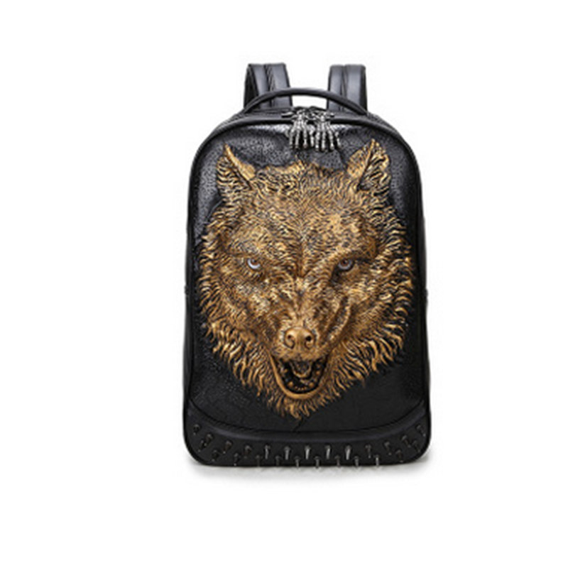 New Punk Fashion Men Personality Travel Unique 3D Backpack Gothic Wolf Printing Motorcycle Ride Laptop Bag 2017 new steam punk punk street gothic personality hole slim slim female stretch leggings
