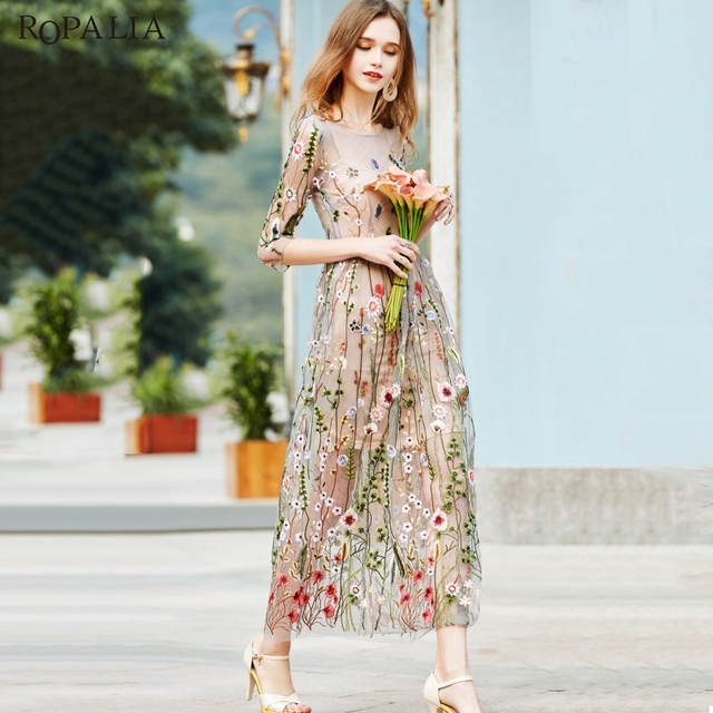 ROPALIA Elegant Women Embroidery Net Yarn Dress Summer Vintage Floral  Bodycon Party O-neck Long 910234f58c1c