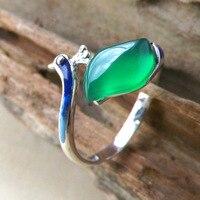 High Quality Natural Semi Precious stones Female Jewelry Cartoon Peacock Shape Simple Fashion Rings Bohemia lovers cute gift
