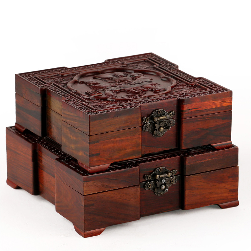 Rosewood crafts wood Affirmative Chinese antique jade jewelry box