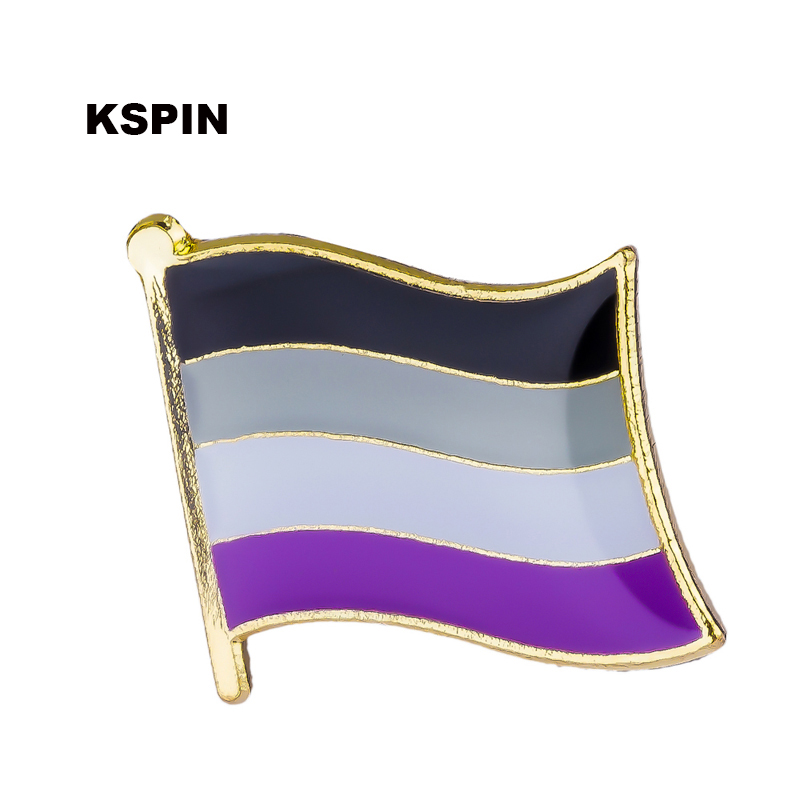Asexual Pride Flag Badge Clips Button for Clothes Metal Kawaii Pins in Brooches XY0137