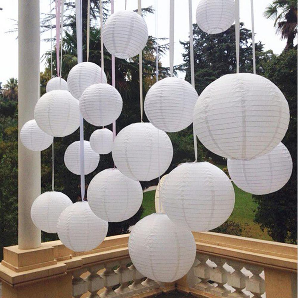 Multi size white chinese paper lanterns for party wedding decoration multi size white chinese paper lanterns for party wedding decoration supplies white hanging paper ball led lamp in lanterns from home garden on junglespirit Image collections