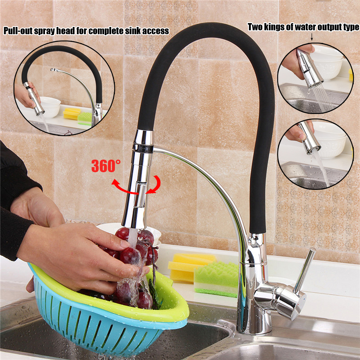 Black Rubber Pull Down Spout Kitchen Vessel Sink Faucet Mixer Tap 360 Rotation Kitchen Mixer Tap Single Handle Cold And Hot