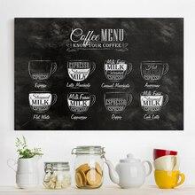 Cartel de menú de café blanco y negro, impresión artística Vintage, bar nórdico, Pub, cafetería, tienda, carteles, imágenes decorativas para salón de casa