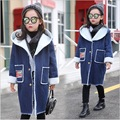 teenage girls jackets and coat denim thick winter outwear long overcoat fashion kids 2016 velvet hoodies